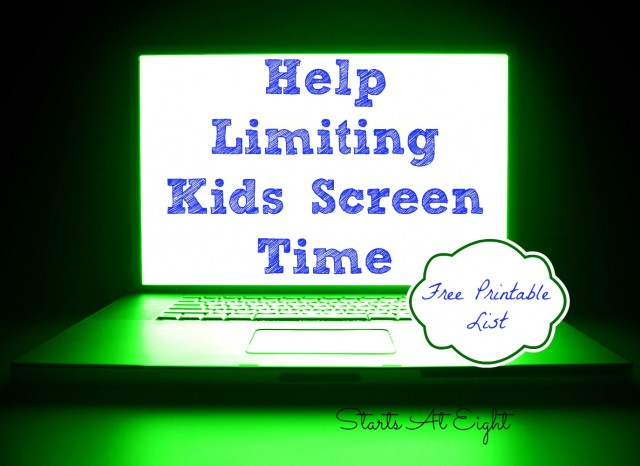 Help Limiting Kids Screen Time with FREE Printable List from Starts At Eight