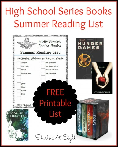 High School Series Books Summer Reading List ~ FREE PRINTABLE from Starts At Eight