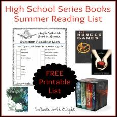 High School Series Books Summer Reading List ~ FREE PRINTABLE