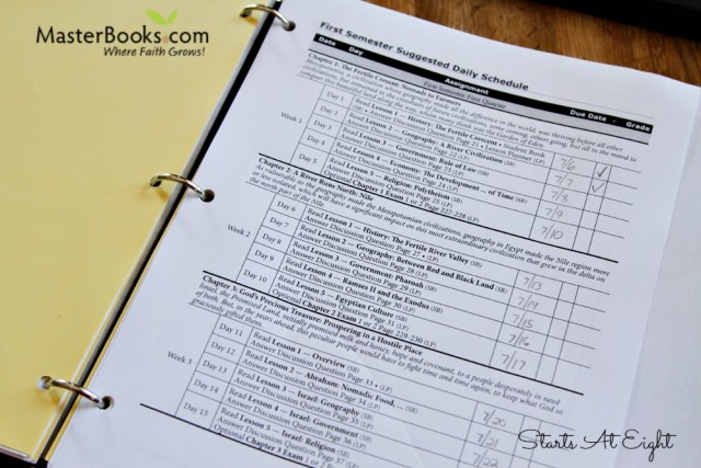 Masterbooks Studies in World History Homeschool Curriculum Suggest Daily Schedule from Starts At Eight