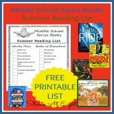 Middle School Series Books Summer Reading List ~ FREE PRINTABLE