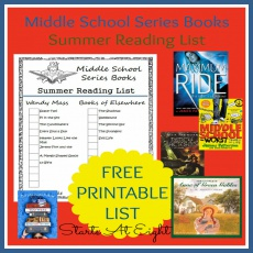 Middle School Series Books Summer Reading List ~ FREE PRINTABLE