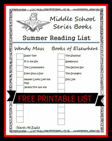 Middle School Series Books Summer Reading List ~ FREE Printable from Starts At Eight