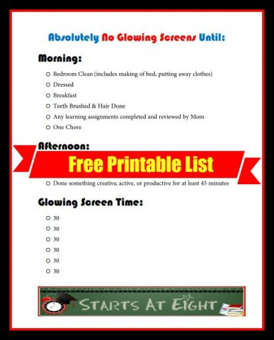 No Glowing Screens FREE Printable List from Starts At Eight
