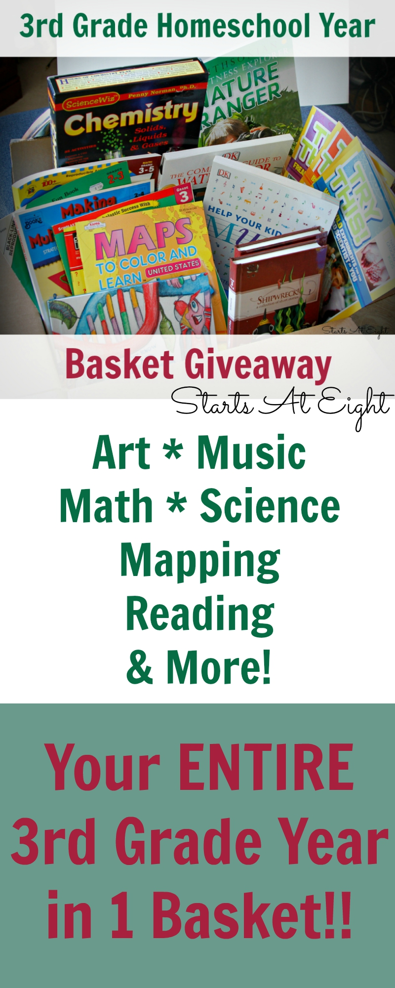 3rd Grade Homeschool Year in a Basket Giveaway from Starts At Eight