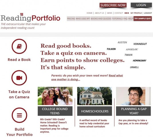 Reading Portfolio Screenshot