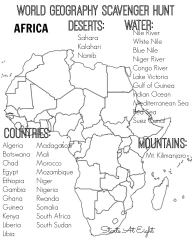 World Geography Scavenger Hunt FREE Printable: Africa from Starts At Eight