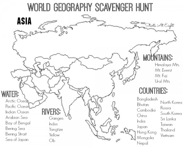 world geography scavenger hunt asia free printable startsateight. Black Bedroom Furniture Sets. Home Design Ideas