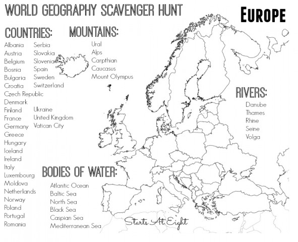 world geography scavenger hunt europe free printable startsateight. Black Bedroom Furniture Sets. Home Design Ideas