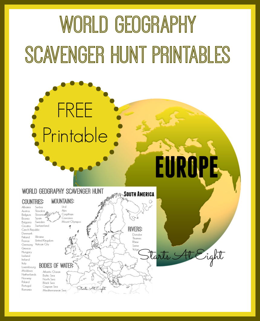 World Geography Scavenger Hunt Printables: Europe from Starts At Eight