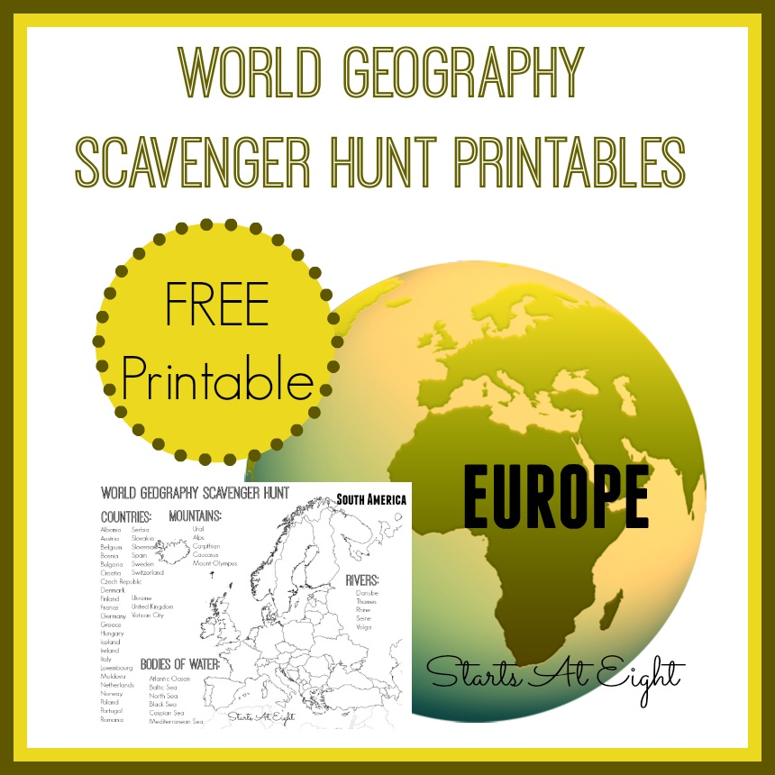 World Geography Scavenger Hunt: Europe ~ FREE Printable