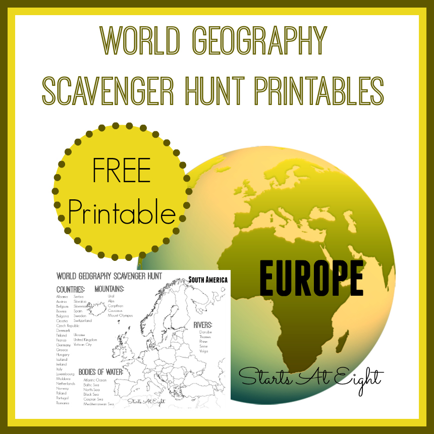 World Geography Scavenger Hunt Europe FREE Printable