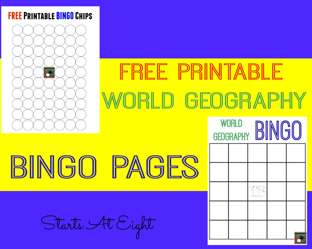 FREE Printable World Geography Bingo Pages from Starts At Eight