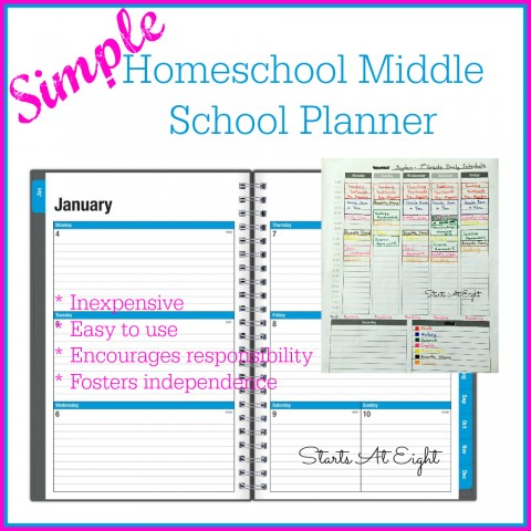 Simple Homeschool Middle School Planner from Starts At Eight