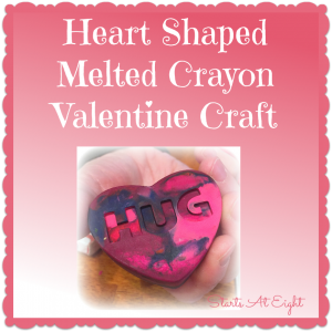 Heart Shaped Melted Crayon Valentine Craft from Starts At Eight