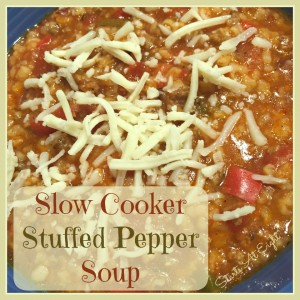 Slow Cooker Stuffed Pepper Soup from Starts At Eight