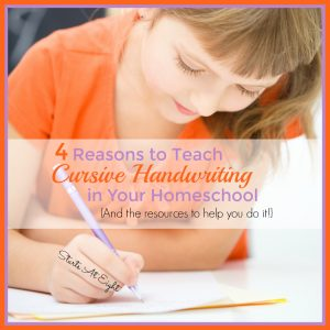 4 Resources to Teach Cursive Handwriting in Your Homeschool {And the resources to help you do it!} from Starts At Eight