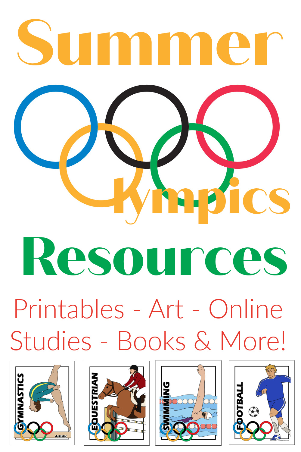 Engaging Summer Olympics Activities includes art projects, printables, books, online resources and more for learning about and engaging with the Summer Olympics. From Starts At Eight
