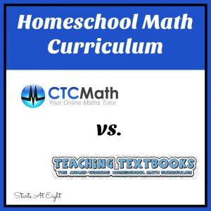 Homeschool Math Curriculum: CTC Math vs. Teaching Textbooks from Starts At Eight