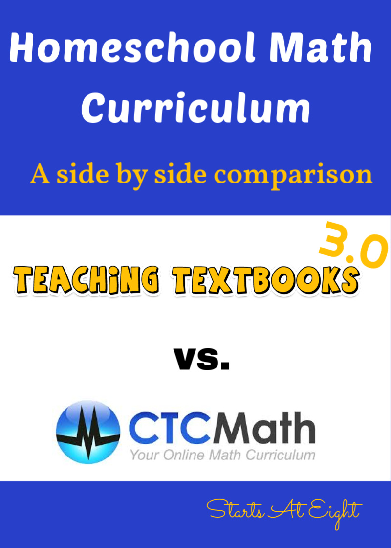 UPDATED to reflect Teaching Textbooks 3.0! Homeschool Math Curriculum: a side by side comparison of Teaching Textbooks 3.0 and CTC Math.