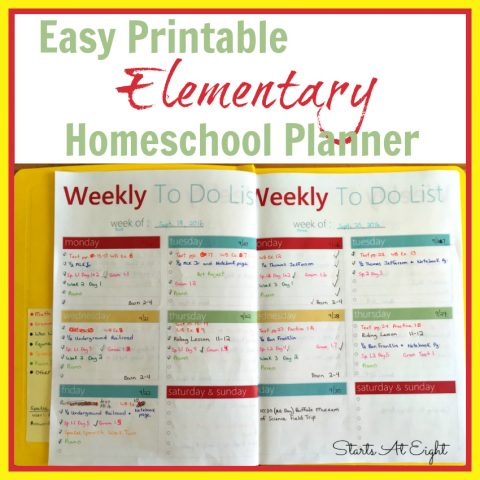 Easy Printable Elementary Homeschool Planner from Starts At Eight Use a FREE Printable Planner page and a few inexpensive supplies to create a simple homeschool planner for your elementary homeschooler.