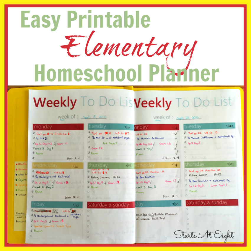 photo relating to Printable Homeschool Planners identify Very simple Printable Basic Homeschool Planner - StartsAtEight