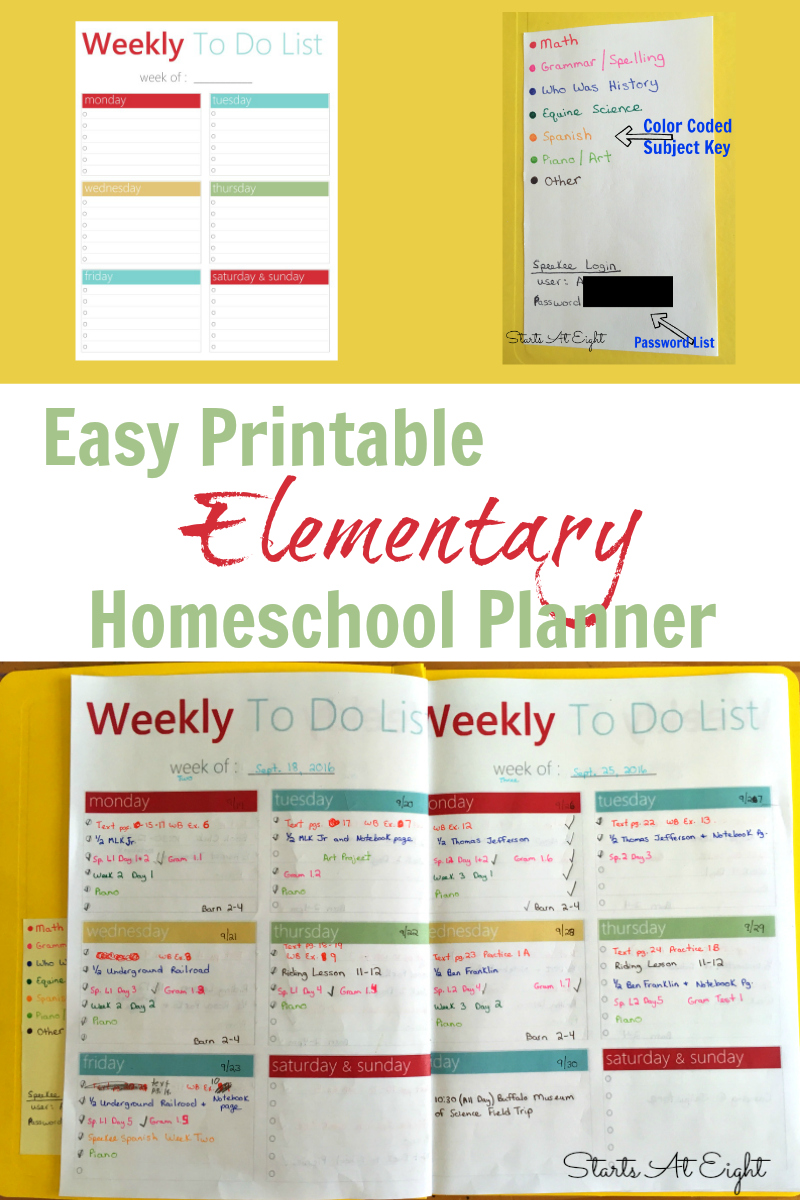 graphic relating to Free Printable Homeschool Planner called Basic Printable Essential Homeschool Planner - StartsAtEight