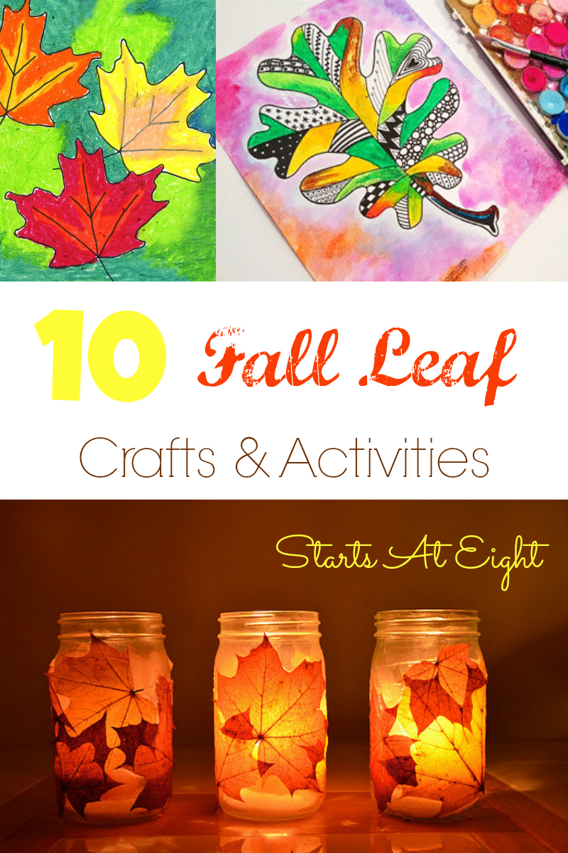 10 Fall Leaf Crafts & Activities from Starts At Eight. Get into the fall season with fall crafts, fall art projects, and fall activities. 10 easy projects that you probably have most of the materials for already. Great for homeschool art projects, crafting, and more!