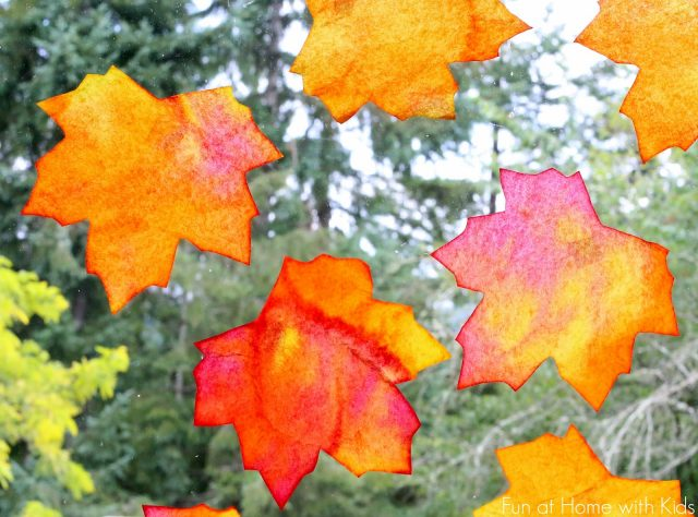 Fall Window Art: Leaf Suncatchers
