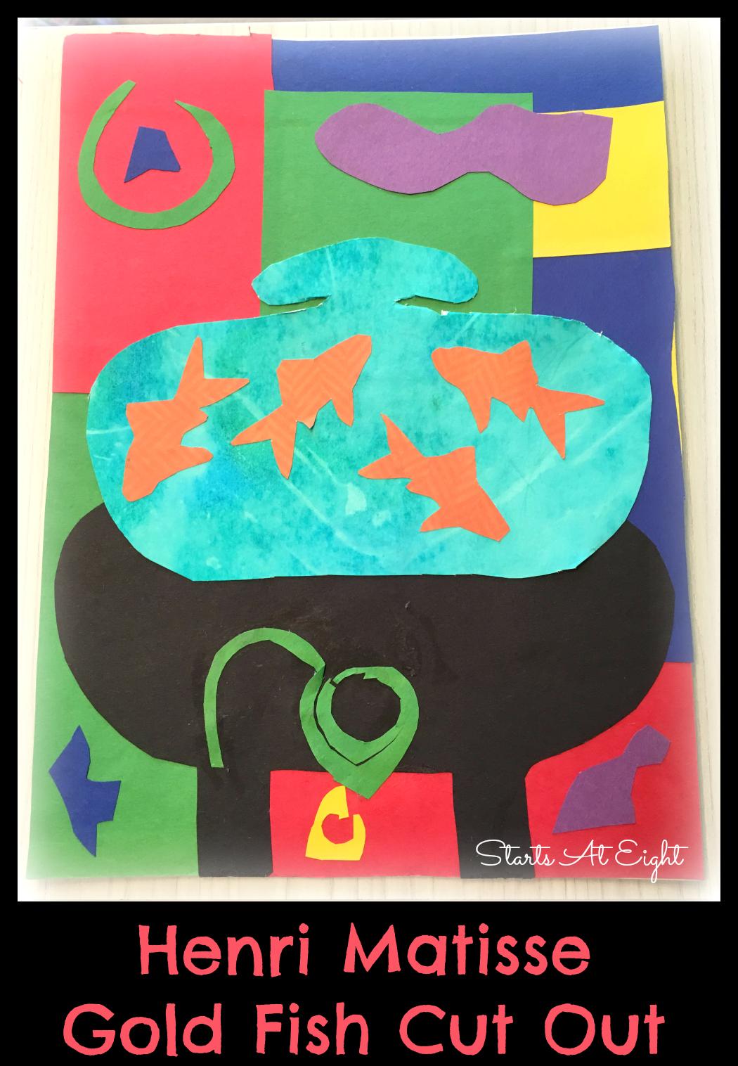 A great homeschool art project: Henri Matisse Art Project ~ Drawing With Scissors Goldfish Still Life