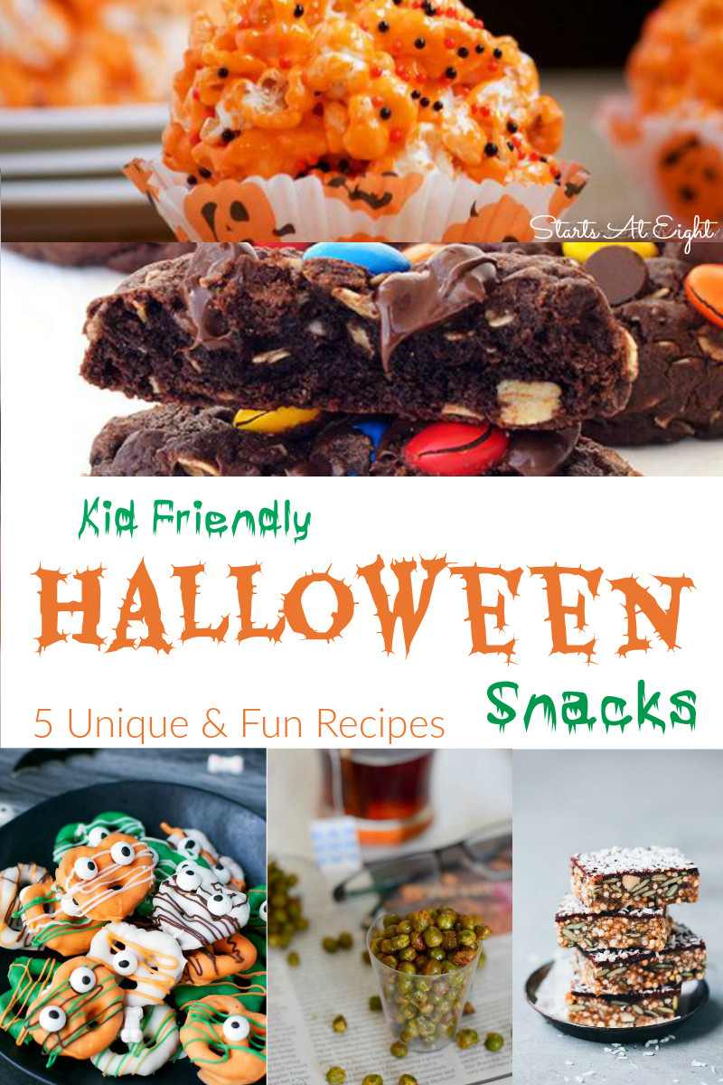 Kid Friendly Halloween Snacks - 5 Unique & Fun Recipes from Starts At Eight. These Kid Friendly Halloween Snacks are sure to be unique & interesting treats that kids will absolutely love! Get your kids in the kitchen and get cooking!