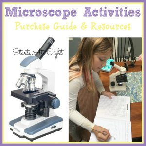 Microscope Activities - Includes Purchase Guide & Resources from Starts At Eight. Learn what features to look for in a microscope, engage in learning the parts of a microscope, participate in microscope activities, and check out other microscope resources and books. Great for homeschoolers of ages - elementary, middle school and high school alike!