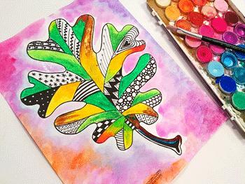 Zentangle Fall Leaf Art Project