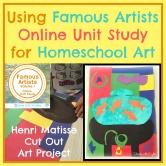 Using Famous Artists Online Unit Study for Homeschool Art