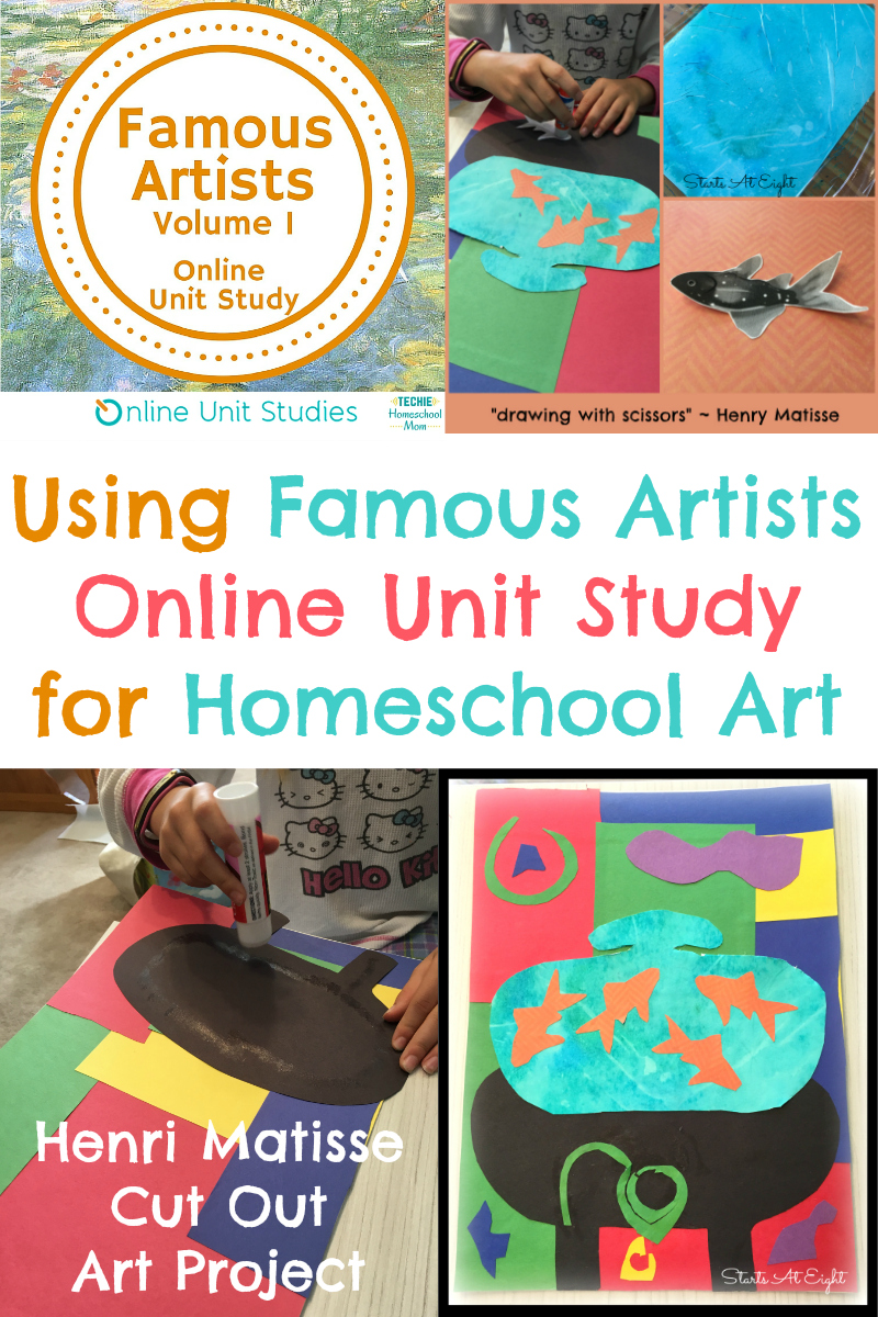 A great homeschool art project from Famous Artists Online Unit Study: Henri Matisse Art Project ~ Drawing With Scissors Goldfish Still Life. Plus try a FREE Lesson!
