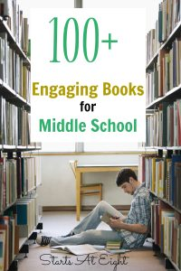 100+ Engaging Books for Middle School from Starts At Eight. 100+ Engaging Books for Middle School is a list of single books as well as series that are reading level and age appropriate for middle school readers.