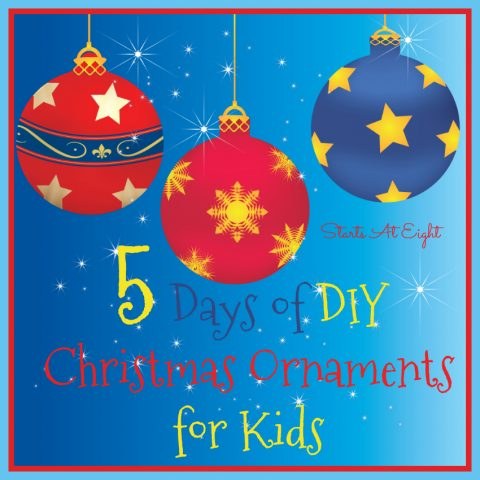 5 Days of DIY Christmas Ornaments for Kids from Starts At Eight. 5 Days of DIY Christmas Ornaments that Kids can make using 5 different types of materials. Use Popsicle sticks to create sleds and stars, yarn to create trees, stars and colorful light bulb ornaments and more!
