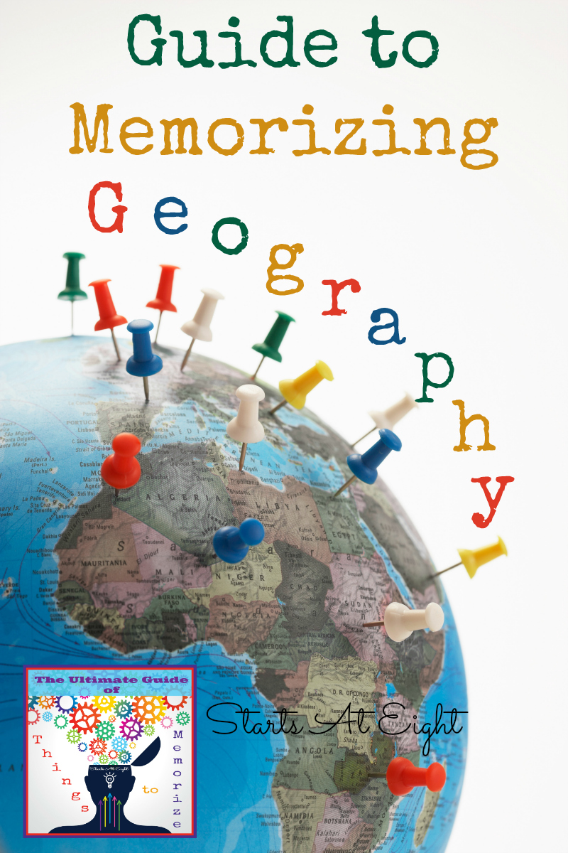 This Guide to Memorizing Geography from Starts At Eight offers lists and resources for helping your children memorize basic geography facts such as continents, countries, states, capitals, and major land forms.