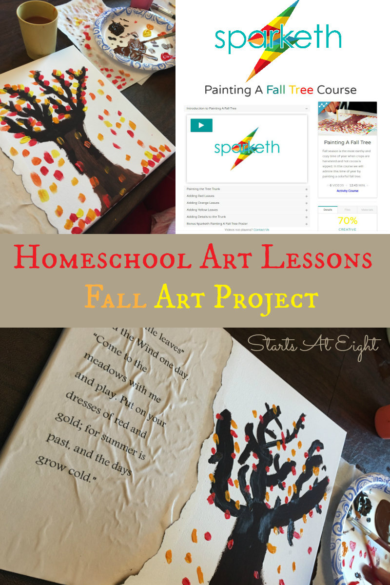 Homeschool Art Lessons: Fall Art Project from Starts At Eight. Using online video resources is a great way to enhance your homeschool art. Check out this Fall Leaves Poetry Art project I created with the help of Sparketh.com.