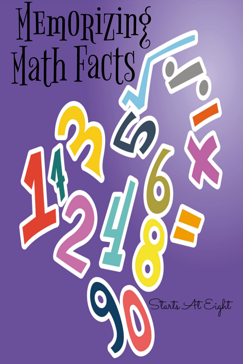 Memorizing Math Facts from Starts At Eight. A list of building block math facts to memorize along with resources to help kids memorize them.