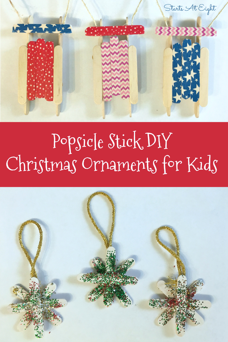Popsicle Stick DIY Christmas Ornaments for Kids from Starts At Eight. Stock up on Popsicle sticks and make some of these fun Popsicle Stick DIY Christmas Ornaments for Kids! Trees, stars, sleds, reindeer and more!