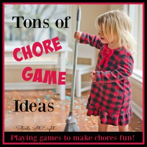 Tons of Chore Game Ideas - Playing games to make chores fun! from Starts At Eight. Help make teaching your kids to clean up around the house more fun! Teach important life skills in a fun and engaging way!