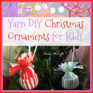Yarn DIY Christmas Ornaments for Kids from Starts At Eight. Stock up on various colors of yarn and make some of these fun Yarn DIY Christmas Ornaments for Kids! Trees, stars, reindeer and more!
