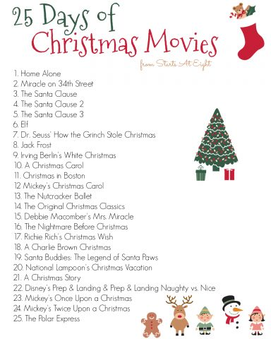 25 Days of Christmas Movies Printable Image