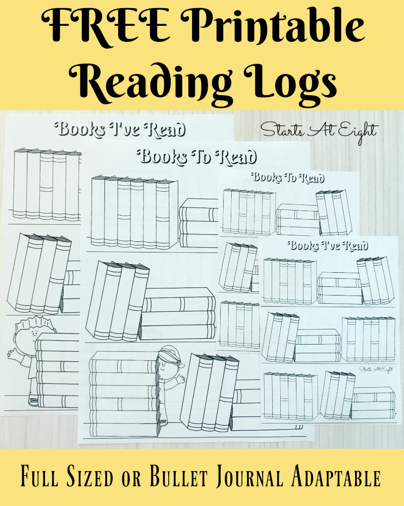 free printable reading logs from starts at eight looking for a cute printable book log - Free Printable Books For Kids