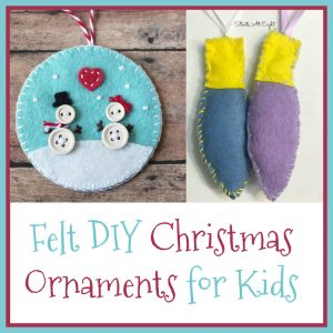 Felt DIY Ornaments for Kids from Starts At Eight. Stock up on various colors of felt and make some of these Felt DIY Christmas Ornaments for Kids! Trees, snow globes, angels, candy canes, bulbs and more!