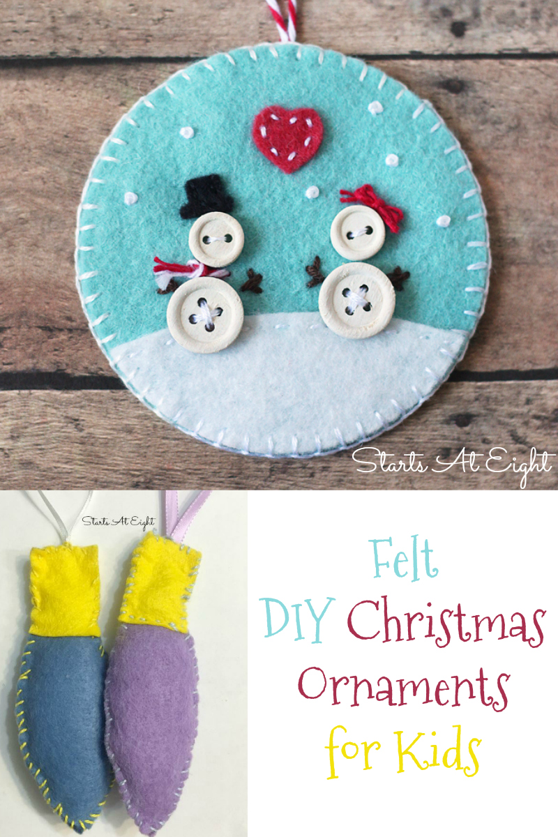 Felt DIY Ornaments for Kids from Starts At Eight. Stock up on various colors of
