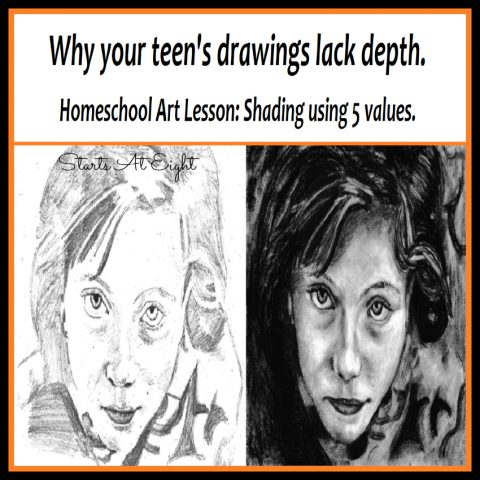 Why your teen's drawings lack depth - A Homeschool Art Lesson: Shading Using 5 Values. Learn to add depth and contrast to your drawings using these 5 shading techniques. Includes a FREE Printable Lesson & Resource Pack for your artist.