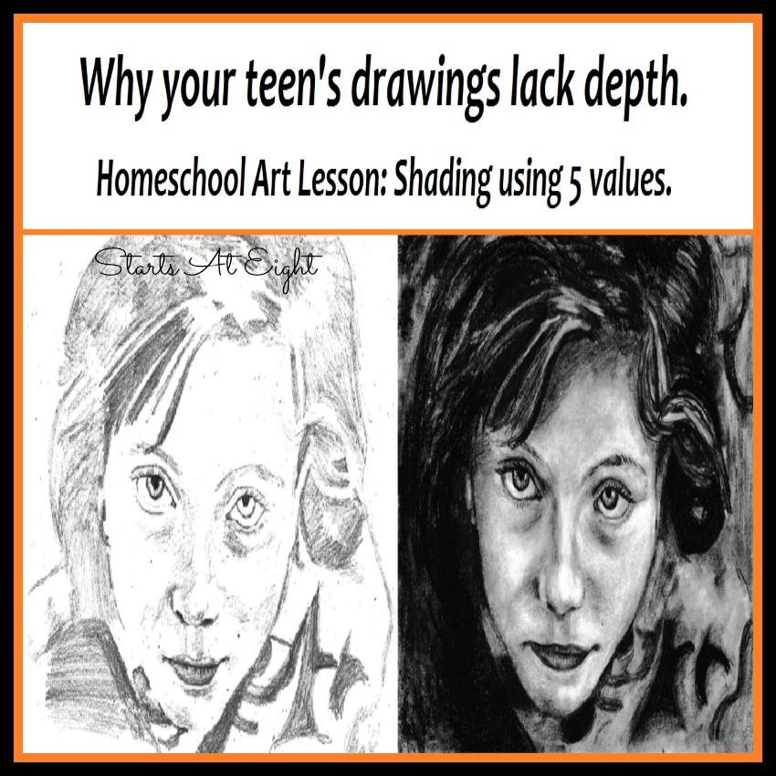 Homeschool Art Lesson: Shading Using 5 Values