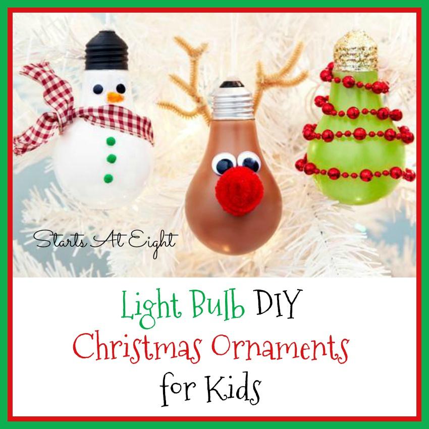 Light Bulb DIY Christmas Ornaments for Kids